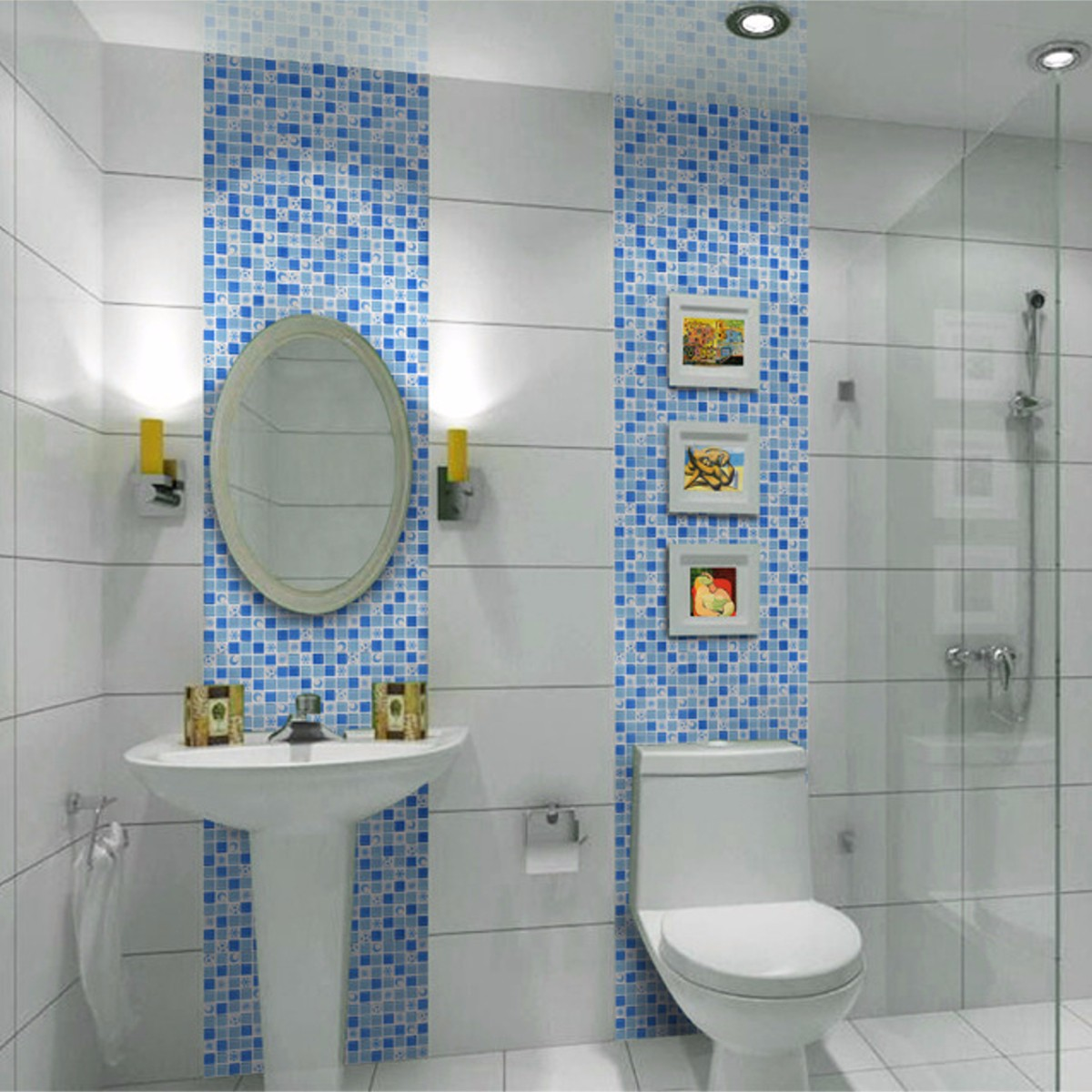 Waterproof crystal 3d mosaic tiles wall sticker for for 3d bathroom decor