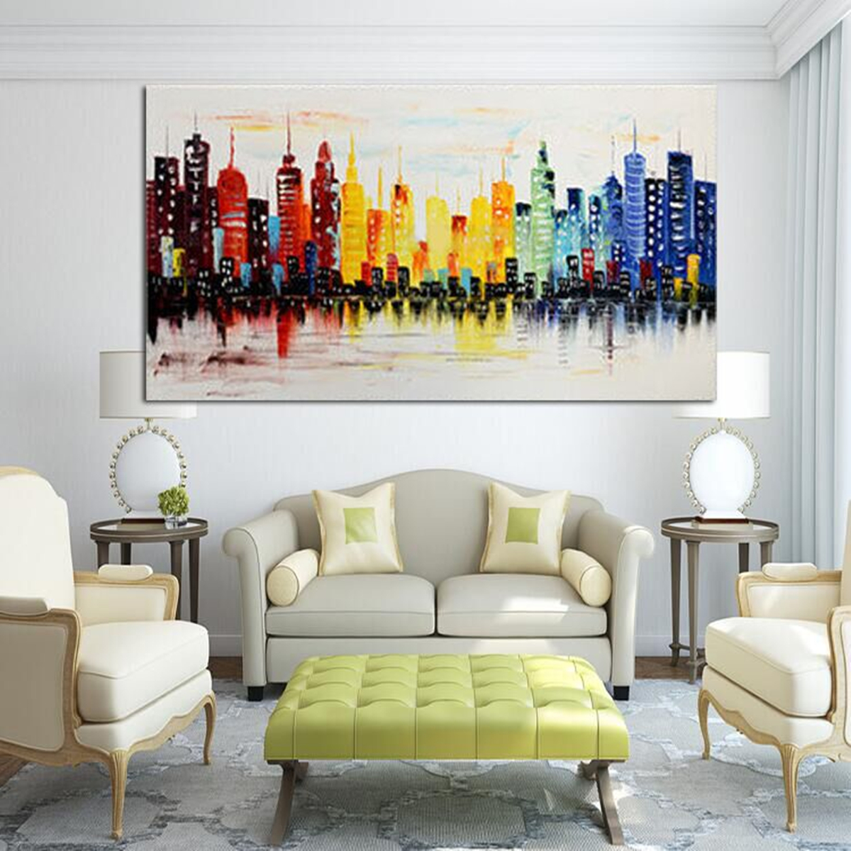 120x60cm modern city canvas abstract painting print living room art wall decor no frame