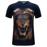 Mens Plus Size 3D Animal Printing Short Sleeve T-shirt Fashion Personality Cotton Tops