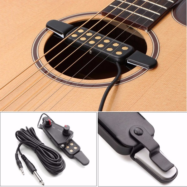 acoustic guitar sound pickup amplifier 12 holes with tone volume control. Black Bedroom Furniture Sets. Home Design Ideas