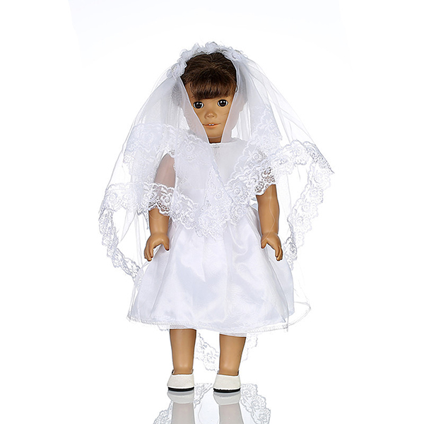 White wedding dress veil doll clothes for 18inch american for American girl wedding dress