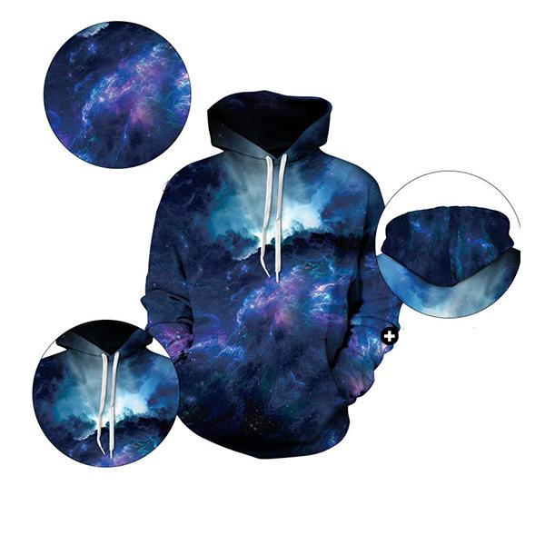 Mens Fashion Space 3D Printing Hoodies Sweatshirt Loose Casual Sport Sweatshirt