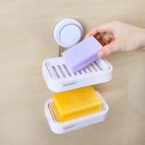 Seamless Double Deck Suction Cup Soap Holder Bath Soap Shelves