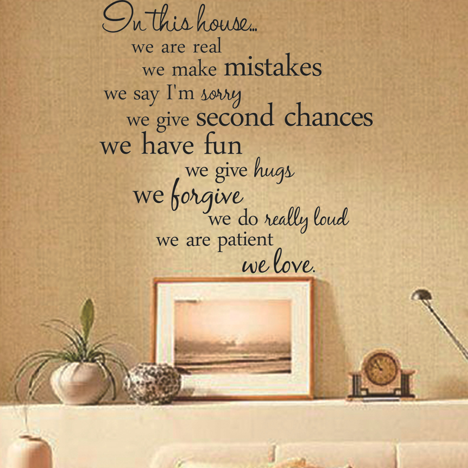 60X56CM In This House English Letter Proverbs Wall Stickers Home ...