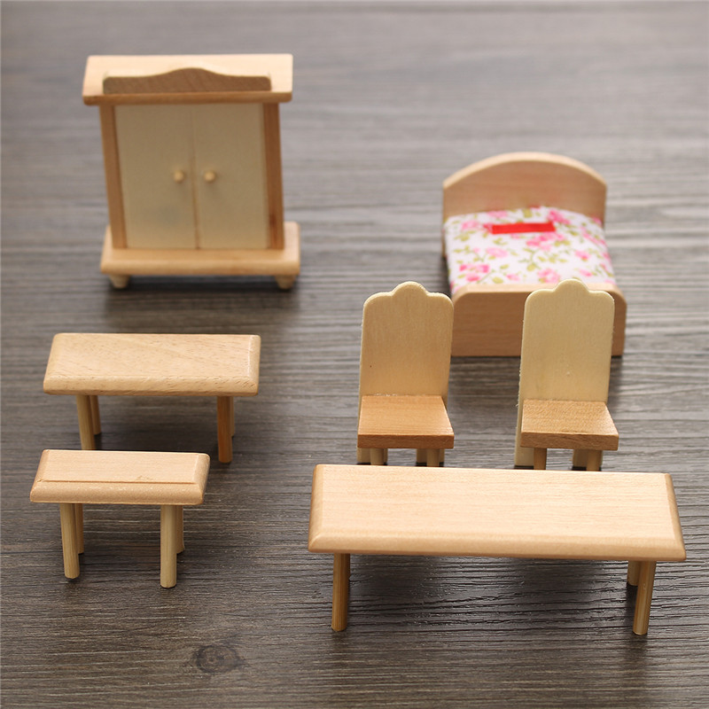 New 29 Pcs 1 24 Scale Dollhouse Miniature Unpainted Wooden Furniture Model Suite Alex Nld