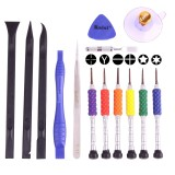 K-T3601 14 in 1 (6 x Screwdriver + 1 x Tweezers + 1 x Stainless Steel Spudger + 1 x Anti-static Spudger + 3 x 146 Spudger + 1 x Suction Sucker + 1 x Triangle Opener) Profession Multi-purpose Opening Tool Set for iPhone, Samsung, Xiaomi and More Phones