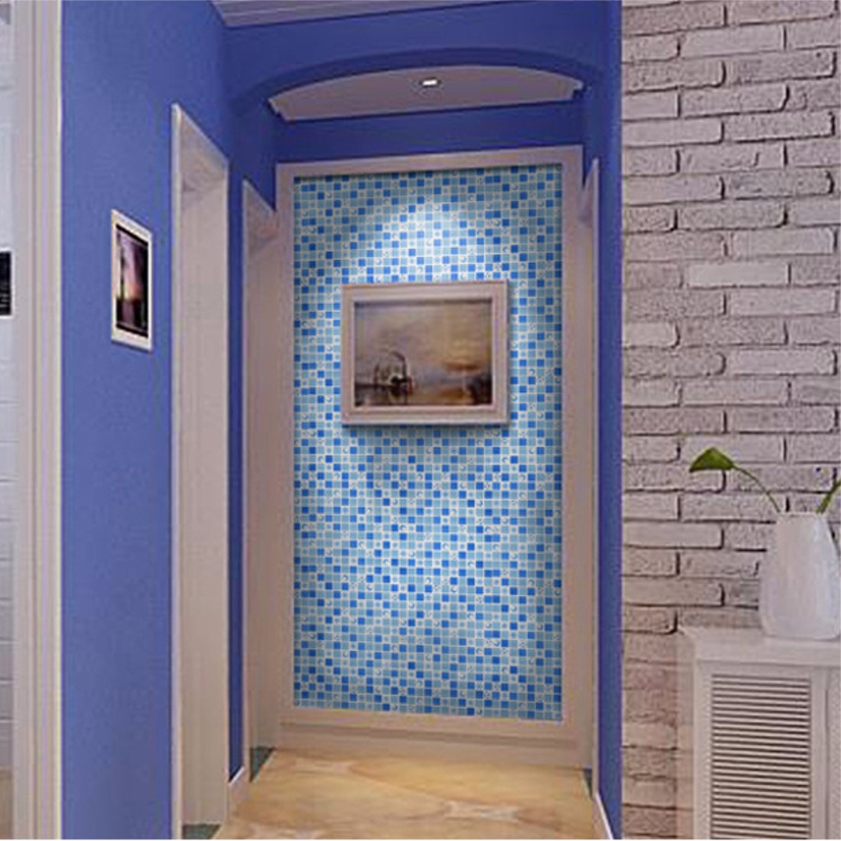 Waterproof crystal 3d mosaic tiles wall sticker for for Mosaic bathroom decor