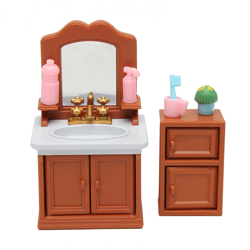 diy miniatures bedroom bathroom furniture sets for sylvanian family dollhouse accessories toys. Black Bedroom Furniture Sets. Home Design Ideas