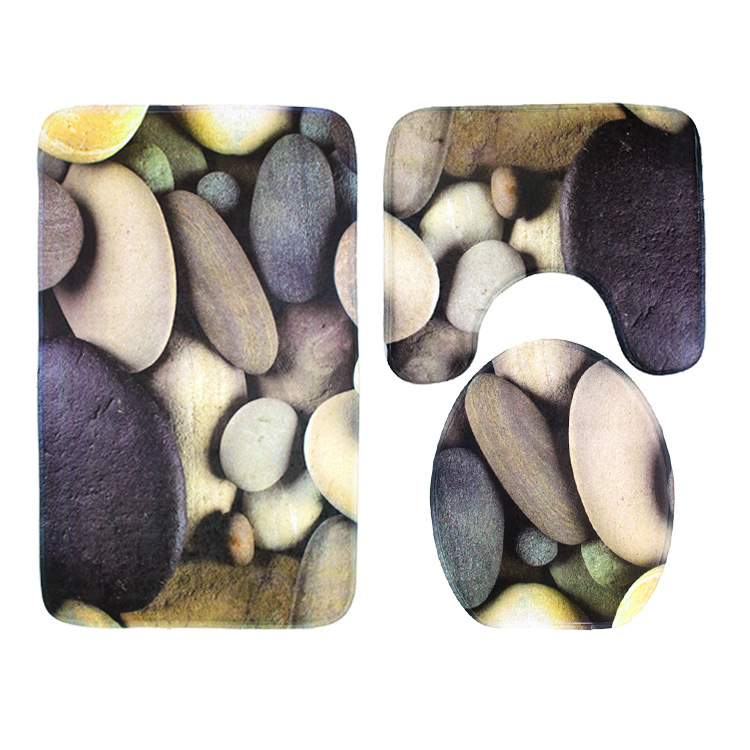 Surprising 3 Piece Anti Slip Toilet Seat Carpet Mats Bathroom Stone Toilet Cover Stool Mat Creativecarmelina Interior Chair Design Creativecarmelinacom