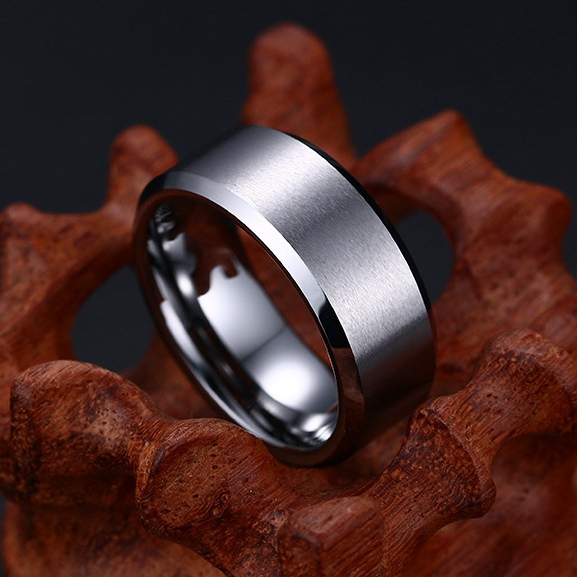 Simple Tungsten Gold Ring Anti-Scratch Men Finger Ring Steel Color Jewelry