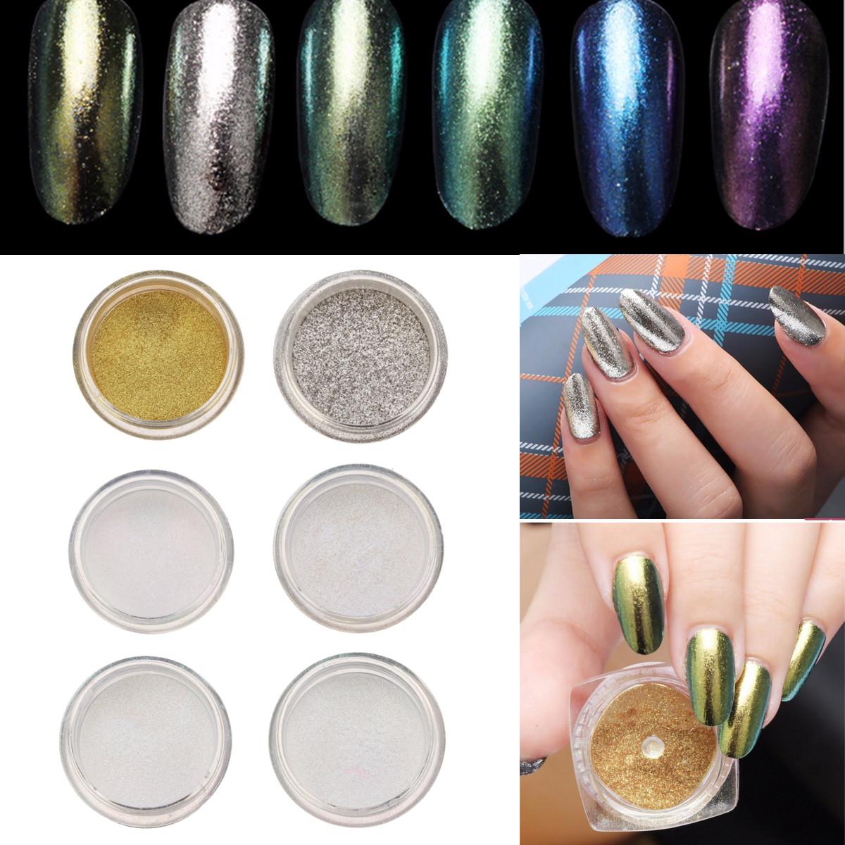 6 Colors Shining Metallic Nail Art Powder Glitter Shimmer Sequins ...