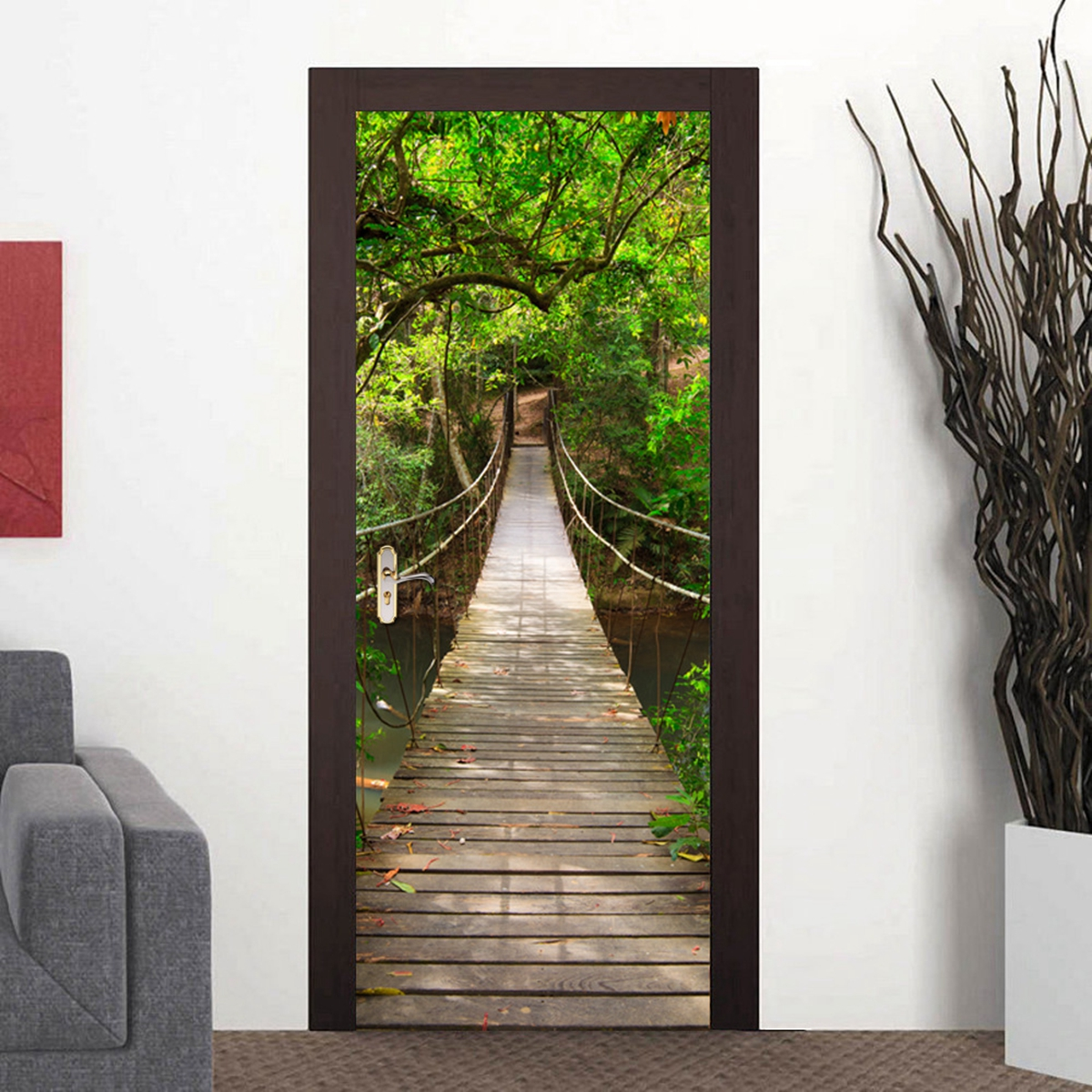 200x77cm 3d wood bridge pvc self adhesive door wall for Door mural stickers