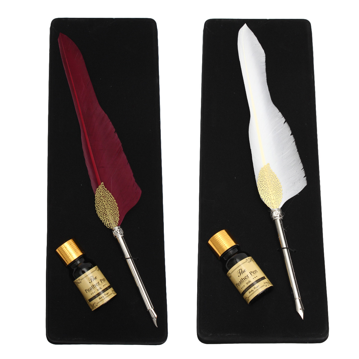 Antique Pure Goose Feather Quill Dip Pen and Ink Set ...Feather Quill Pen And Ink Set