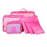 6 in 1 Outdoor Traveling / Household Clothing Storage Bag Included Six Pieces Suit (Magenta)