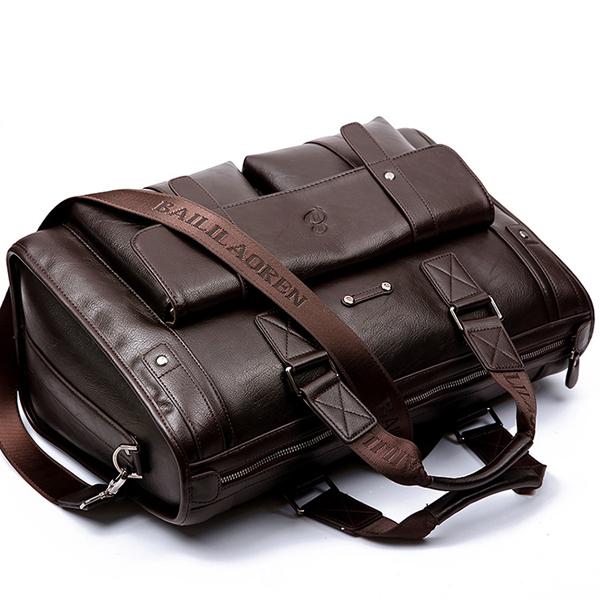 Men Business Vintage Laptop Bag Briefcase Capacity Horizontal Handbag Travel