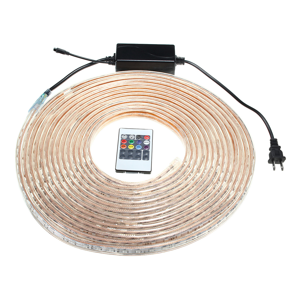 Led Rope Lights With Remote: 10/15M SMD5050 LED RGB Flexible Rope Outdoor Waterproof