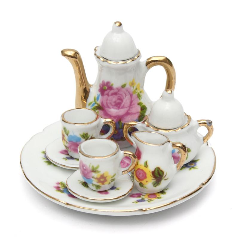 Vintage Tea Cups Part - 39: 8pcs Porcelain Vintage Tea Sets Teapot Coffee Retro Floral Cups Doll House  Decor Toy