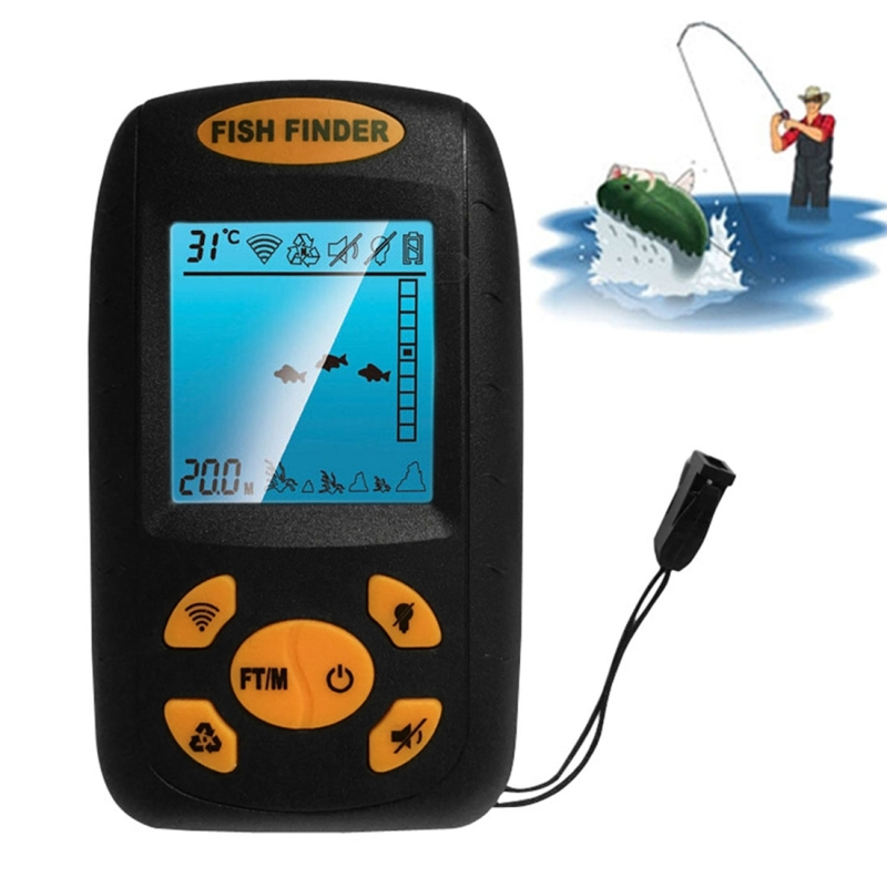 Portable ultrasonic fish finder water depth temperature for Fish and depth finder
