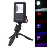 30W 24 LEDs SMD5730 2400LM 6000-6500K IP65 Waterproof Red and Blue Light Flashing Warning Lights USB Charging Portable Floodlight Lamp with Holder