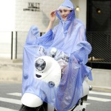 Waterproof Big Hat Crystal PVC Printing Dot Clear Motorcycle Person Poncho Adult Hooded Impermeable Raincoat Outdoor Rain Cape Coat (Blue)