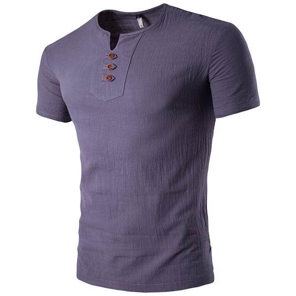 Summer mens casual v neck button cotton linen t shirt for Mens summer linen shirts