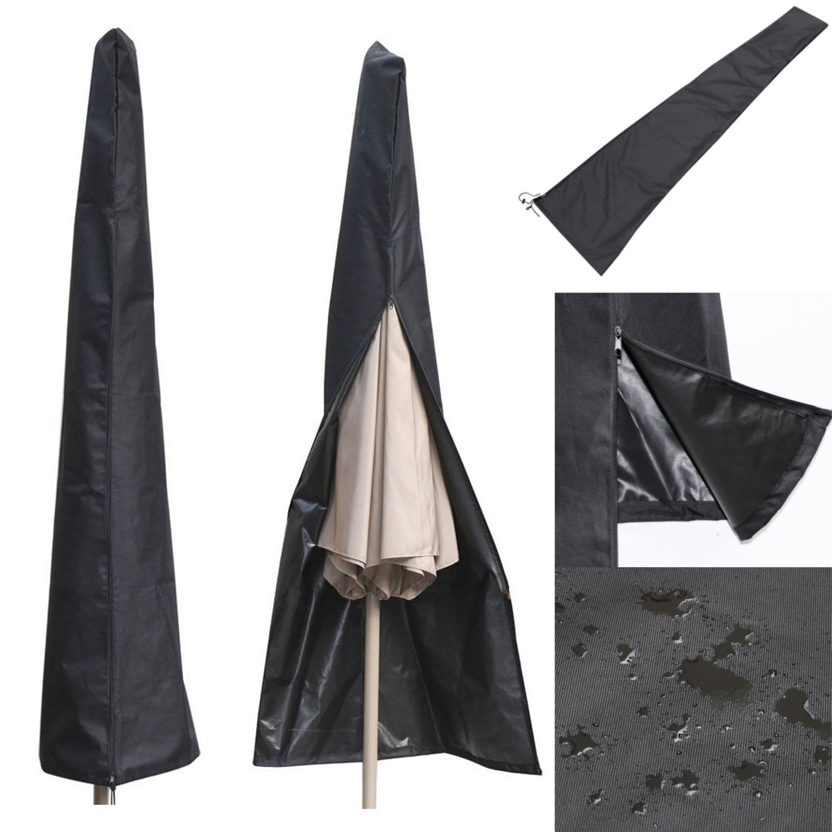 Patio Umbrella Covers With Zipper: Outdoor Waterproof Patio Umbrella Canopy Cover Protective