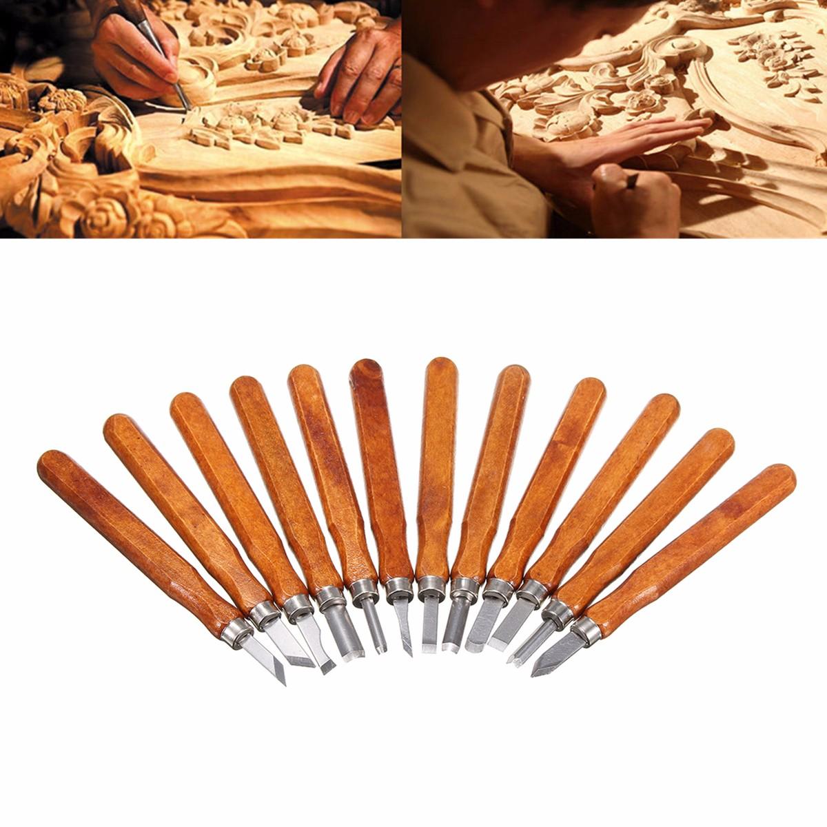 12Pcs Wood Carving Woodworking Hand Chisel Set Professional Lathe Gouges Tools | Alex NLD