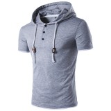 Summer Mens Casual Hooded Rope T-shirt Pure Color Short Sleeve Sweater T-shirt