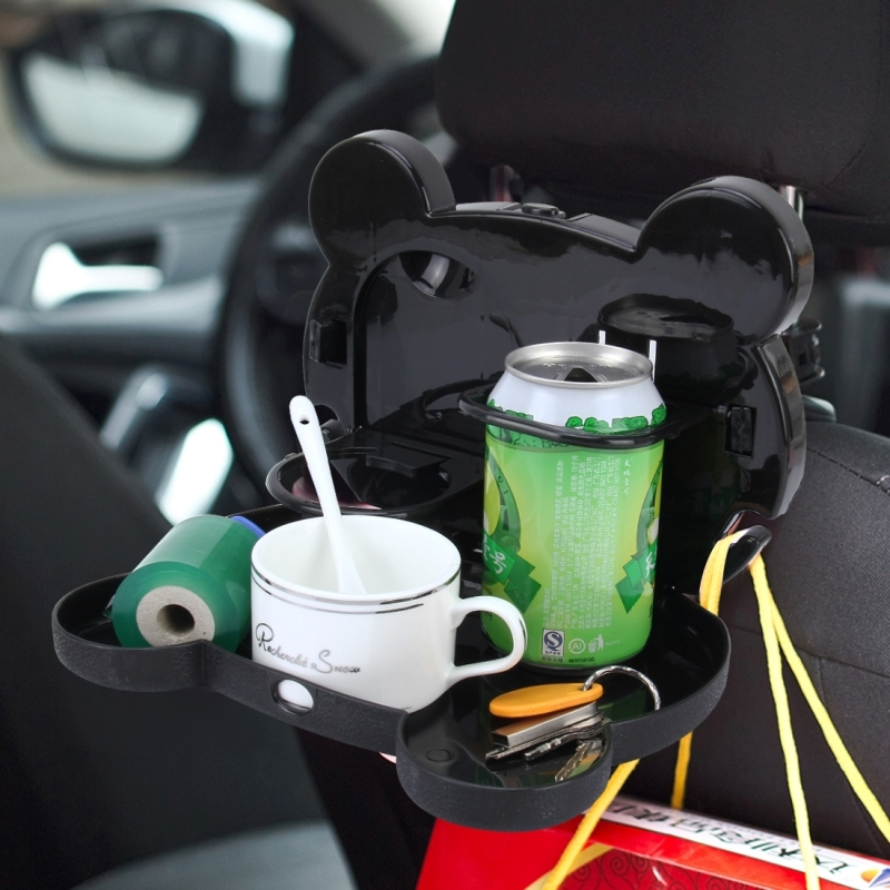 Cartoon Style Foldable Back Car Seat Drink Holder Back Seat Food Tray  Storage Organizer Table (