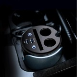 HSC HSC-200 Car Cup Charger 2.1A/1A Dual USB Ports Car 12V-24V Charger with 2-Socket Cigarette and Card Socket (Silver)