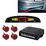 Car Buzzer Reverse Backup Radar System – Premium Quality 4 Parking Sensors Car Reverse Backup Radar System with LCD Display (Dark Red)