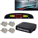 Car Buzzer Reverse Backup Radar System – Premium Quality 4 Parking Sensors Car Reverse Backup Radar System with LCD Display (Silver Grey)