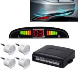 Car Buzzer Reverse Backup Radar System – Premium Quality 4 Parking Sensors Car Reverse Backup Radar System with LCD Display (Pure White)