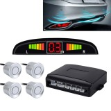Car Buzzer Reverse Backup Radar System – Premium Quality 4 Parking Sensors Car Reverse Backup Radar System with LCD Display (Silver)