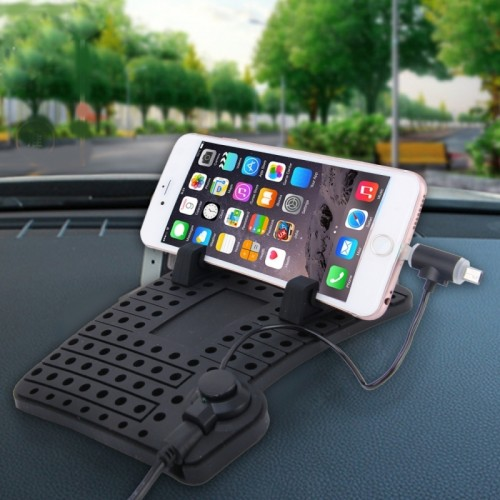 YK-22 Silicone Pad Dash Mat Cell Phone Car Mount Holder Cradle Dock With 2 in 1 Charging Cable With Magnetic Adsorption Stander For Phone and GPS