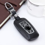 Car Auto PU Leather Luminous Effect Key Ring Protection Cover for BMW Series5/Series7 (Black)