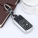 Car Auto PU Leather Intelligence Luminous Effect Key Ring Protection Cover for Eighth Generation Accord Ninth Generation Civic (Silver)