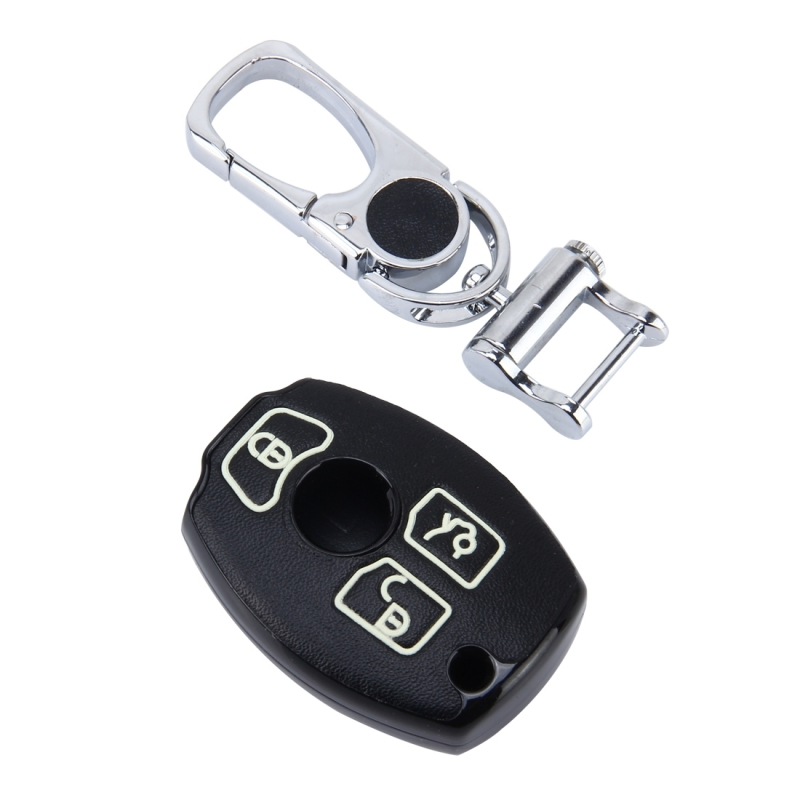 Car Auto PU Leather Three Buttons Luminous Effect Key Ring Protection Cover for BMW (Black)