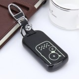 Car Auto PU Leather Intelligence Luminous Effect Key Ring Protection Cover for CRV Crosstour (Black)