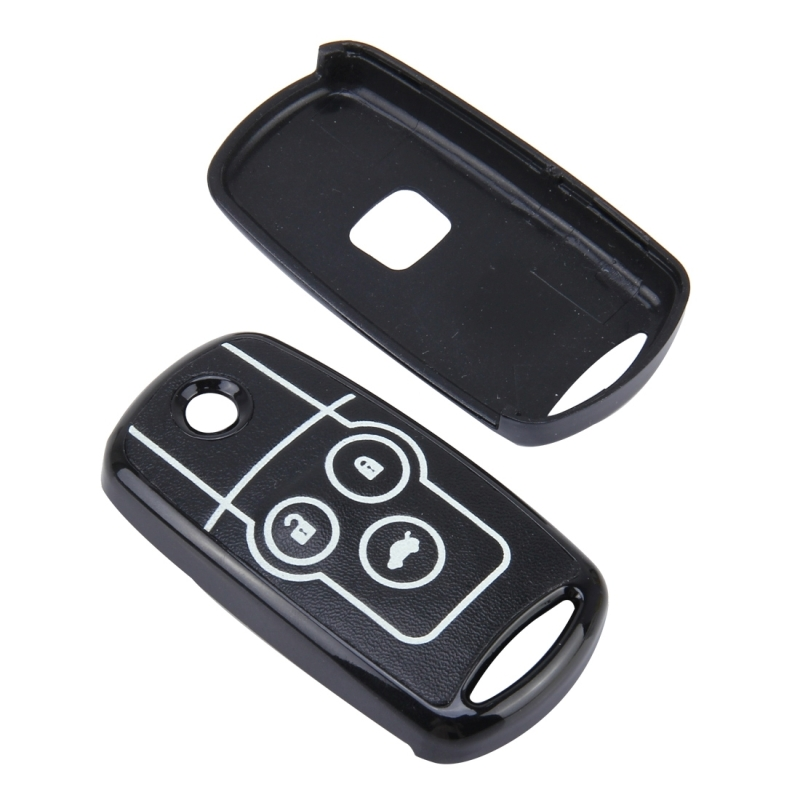 Car Auto PU Leather Fold Three Buttons Luminous Effect Key Ring Protection Cover for CRV (Black)
