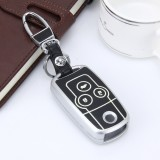 Car Auto PU Leather Fold Three Buttons Luminous Effect Key Ring Protection Cover for CRV (Silver)