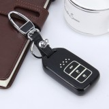 Car Auto PU Leather Intelligence Three Buttons Luminous Effect Key Ring Protection Cover for Jed (Black)