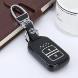 Car Auto PU Leather Fold Two Buttons Luminous Effect Key Ring Protection Cover for CRV (Black)