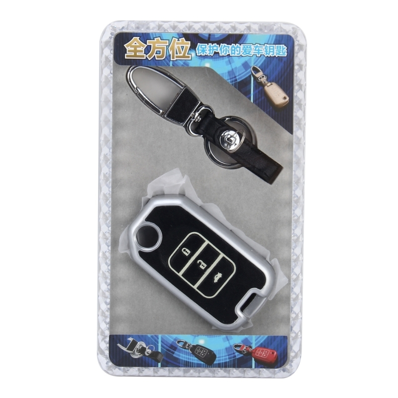 Car Auto PU Leather Fold Three Buttons Luminous Effect Key Ring Protection Cover for Crider (Silver)