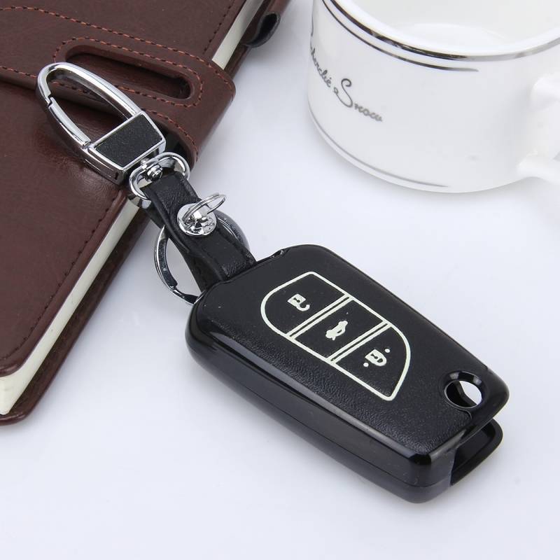 Car Auto Fold Three Buttons PU Leather Luminous Effect Key Ring Protection Cover for Ralink 2014 Version Carola 2015 Version Highlander (Black)