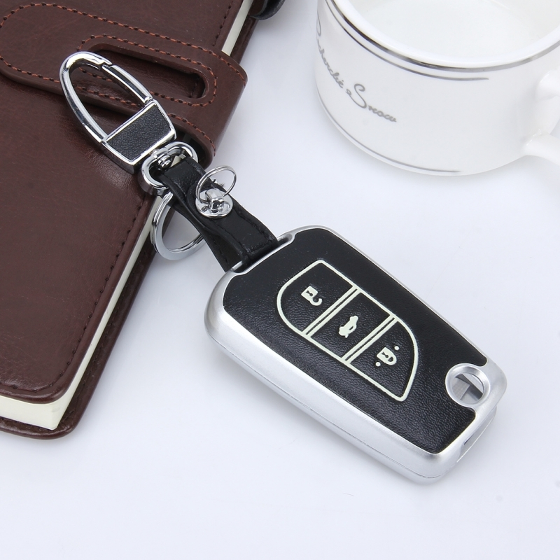 Car Auto Fold Three Buttons PU Leather Luminous Effect Key Ring Protection Cover for Ralink 2014 Version Carola 2015 Version Highlander (Silver)