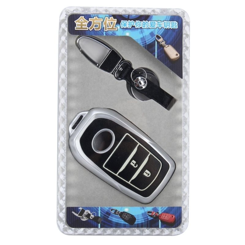 Car Auto PU Leather Fold Two Buttons Luminous Effect Key Ring Protection Cover for 2014 Version RAV4 2015 Version Highlander (Silver)