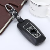 Car Auto PU Leather Luminous Effect Key Ring Protection Cover for BMW Series1/Series3/X3/X4 (Black)