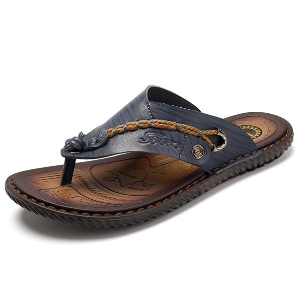 Summer Men Leather Sandals Flip Flops Slippers Beach Shoes