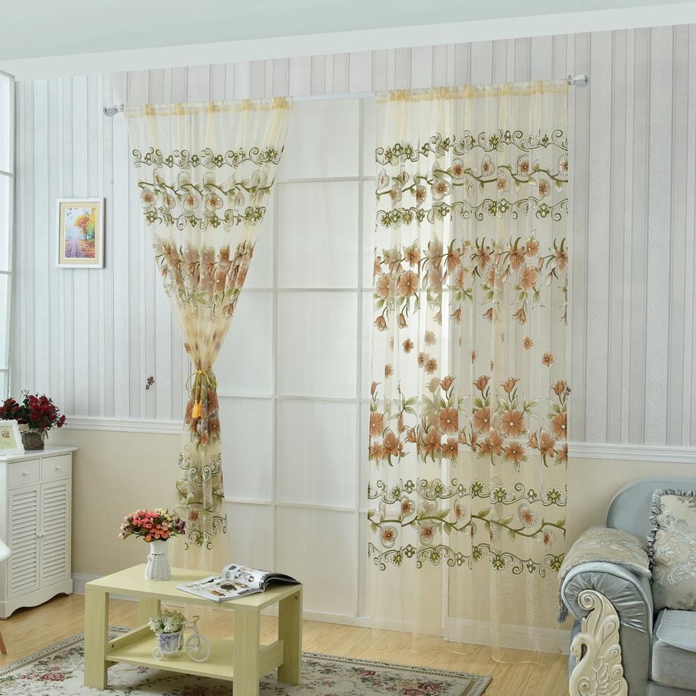 Honana Fashion Transparent Tulle Curtains Window Screen Decor Living ...